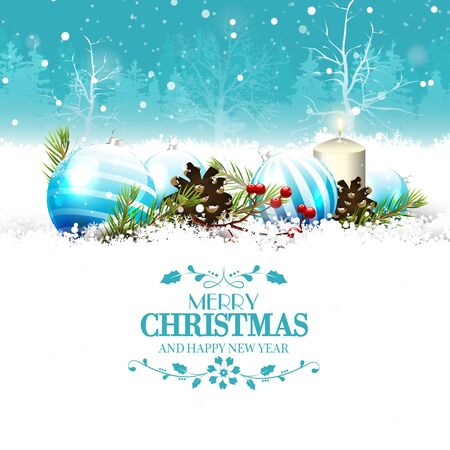 christmas greeting card: Christmas greeting card with traditional decorations in the snow