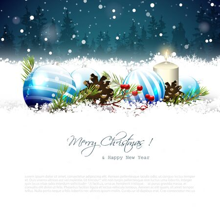 family outside: Christmas greeting card with traditional decorations in the snow