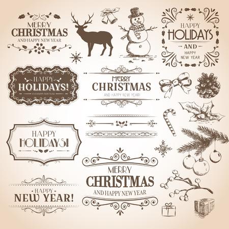 Karácsonyi és újévi dekoráció gyűjtemény. Vector meg a kalligrafikus címkék, kézzel rajzolt dekoráció, matricák, elemek és emblémák. Illusztráció