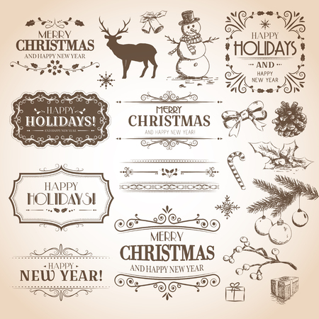 Christmas and New Year decoration collection. Vector set of calligraphic labels, hand drawn decorations, stickers, elements and emblems. Vettoriali
