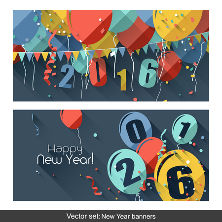 sylvester: Happy New Year 2016 - modern horizontal banners in flat design style Illustration