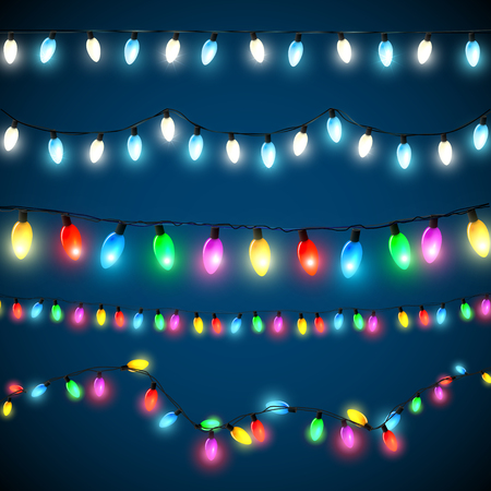 christmas lights: Vector set of Christmas lights