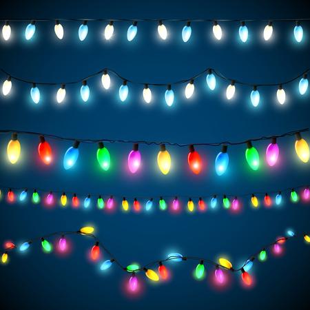Vektor sor karácsonyi fények