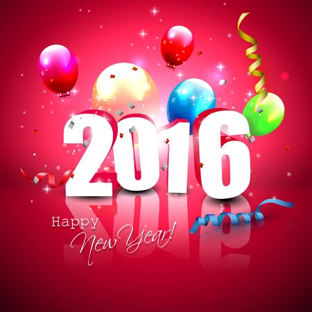 sylvester: Happy New Year 2016 - colorful greeting card with 3D numbers and balloons Illustration