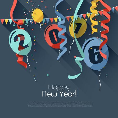 祝賀会: 2016 年新年ハッピー - 平らな設計スタイルでモダンなグリーティング カード