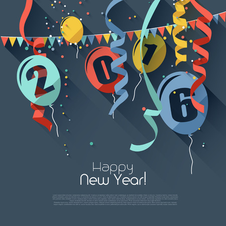 balloons celebration: Happy New Year 2016 - modern greeting card in flat design style Illustration