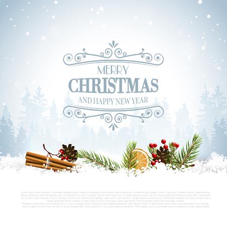 velas de navidad: tarjeta de felicitación de Navidad con decoraciones tradicionales y las letras caligráficas Vectores