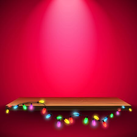 wooden shelf: Colorful Christmas lights and wooden shelf on red background