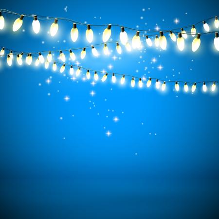Christmas lights on blue background