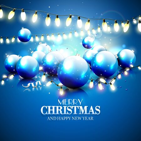 Christmas blue greeting card with baubles and lights