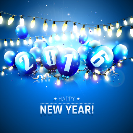 sylvester: Happy New Year 2016 - Greeting card with blue balloons and lights on blue background