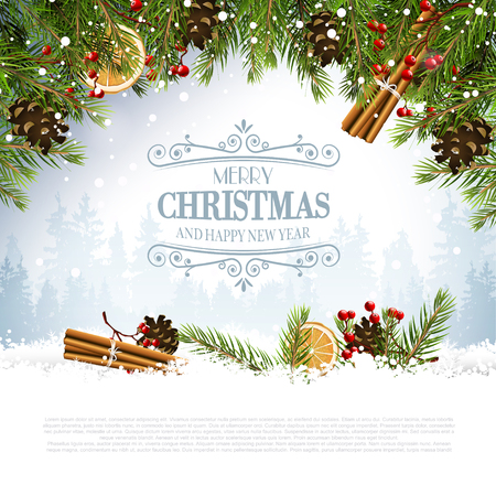 Christmas greeting card with traditional decorations and calligraphic lettering