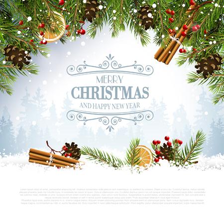 dekoration: Weihnachtsgrußkarte mit traditionellen Dekorationen und kalligraphischer Schrift