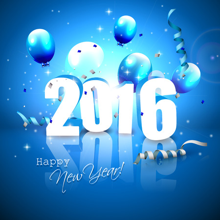 blue and white: Happy New Year 2016 - blue greeting card with 3D numbers Illustration