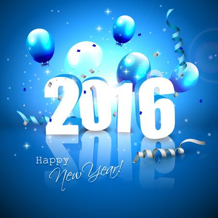 nouvel an: Happy New Year 2016 - carte de voeux bleue avec des numéros 3D Illustration