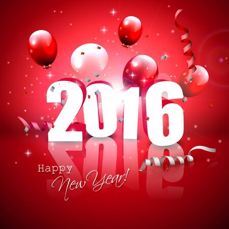 sylvester: Happy New Year 2016 - red greeting card with 3D numbers and balloons