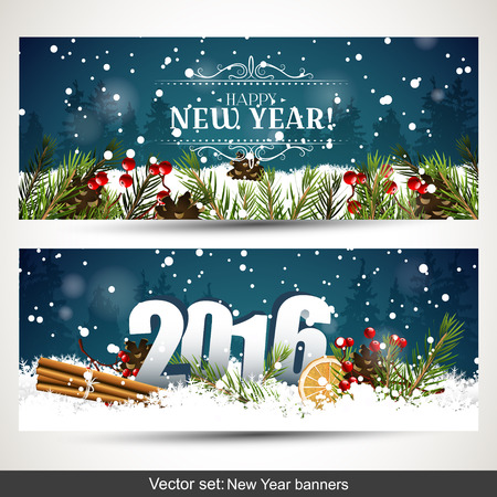 date fruit: Vector set of two New Year banners