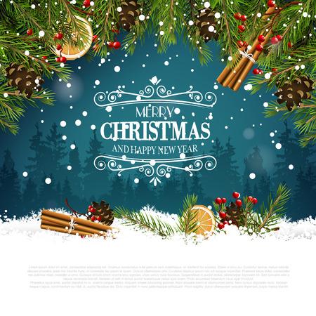 Kerst wenskaart met traditionele decoraties en kalligrafische letters