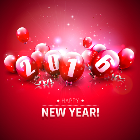 red balloons: Happy New Year 2016 - Greeting card with red balloons