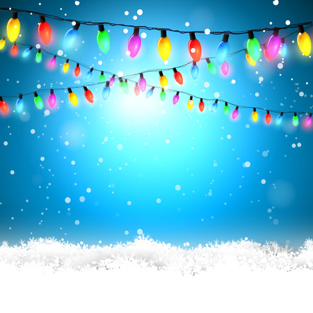 string: Blue Christmas background with colorful lights and snow Illustration
