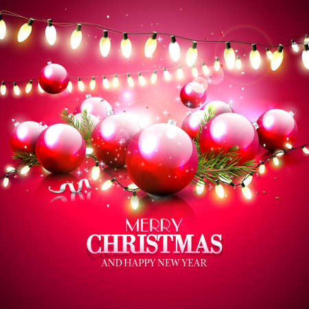 light reflex: Christmas red greeting card with baubles and lights
