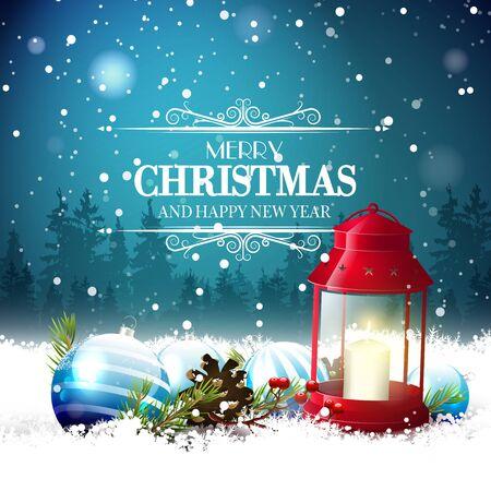 velas de navidad: tarjeta de felicitación de Navidad con linterna roja y decoraciones tradicionales en la noche