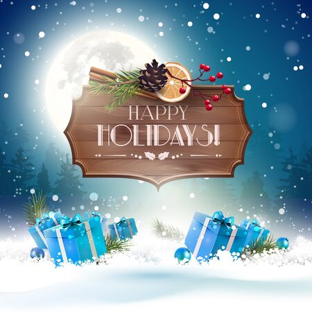 christmas blue: Christmas greeting card with gift boxes in the snow and wooden sign at night