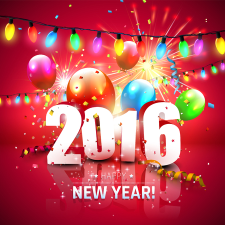 Happy New Year 2016 - colorful greeting card with 3D numbers, fireworks and balloons on red background Stock Illustratie