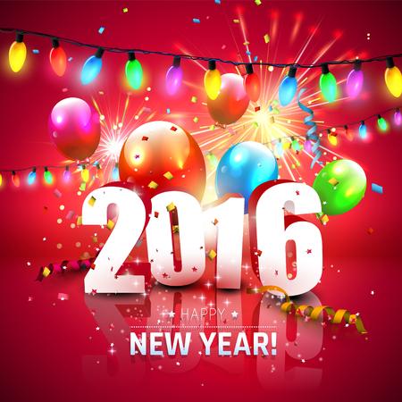 happy new year: Glückliches neues Jahr 2016 - bunte Grußkarte mit 3D-Nummern, Feuerwerk und Luftballons auf rotem Hintergrund