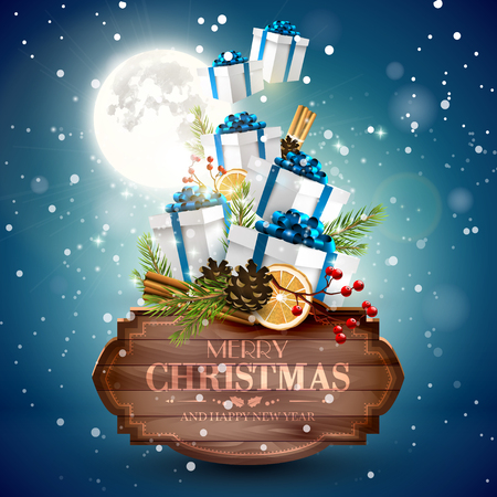 snowfalls: Christmas greeting card - gift boxes flying behind wooden sign with traditional decorations