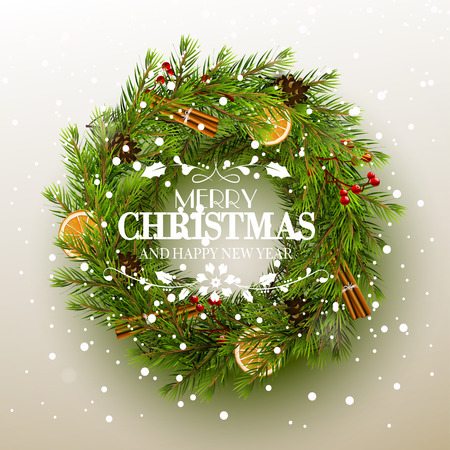 christmas decorations: Christmas greeting card - wreath with traditional decoration and calligraphic lettering on white background
