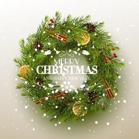 motivos navideños: Tarjeta de felicitación de Navidad - corona de flores con decoración tradicional y las letras caligráficas sobre fondo blanco