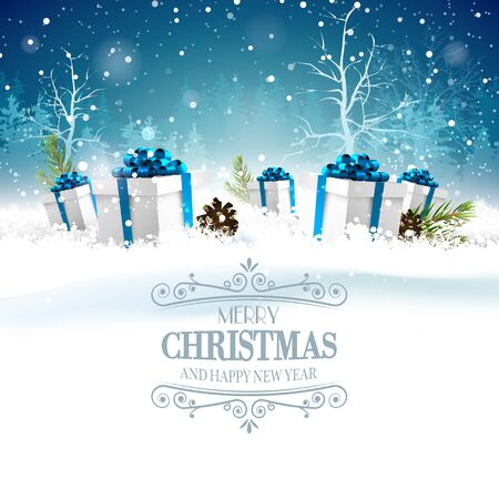 christmas blue: Christmas greeting card with gft boxes in the snow at night Illustration