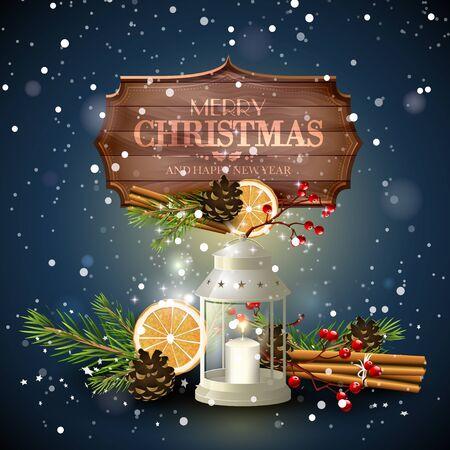 velas de navidad: Tarjeta de felicitación de Navidad con linterna blanca, decoraciones tradicionales y cartel de madera en la noche Vectores