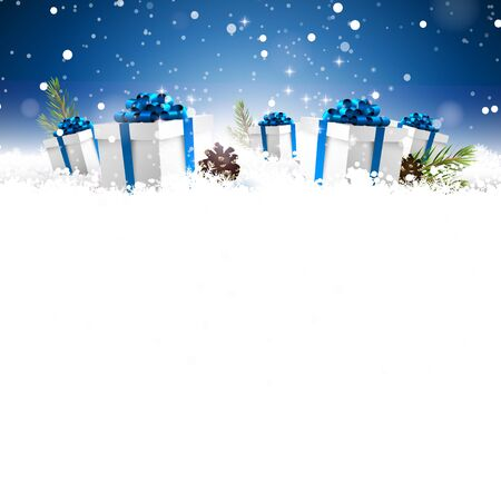 text space: Gift boxes in the snow at night - Christmas greeting card with empty space for your text