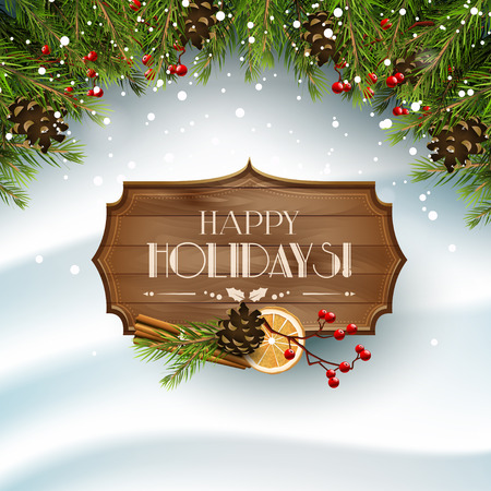 Kerst wenskaart met traditionele decoraties en houten bord op de sneeuw Stockfoto - 49138319