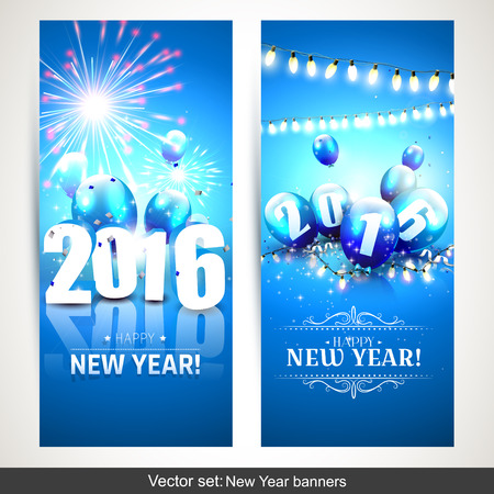sylvester: Happy New Year 2016 - Horizontal banners with blue balloons