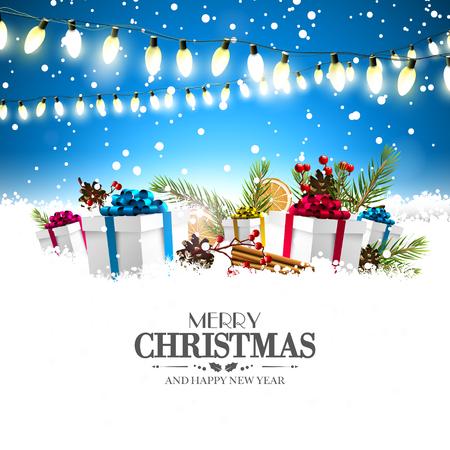 Kerst wenskaart met verlichting en kleurrijke geschenkdozen in de sneeuw