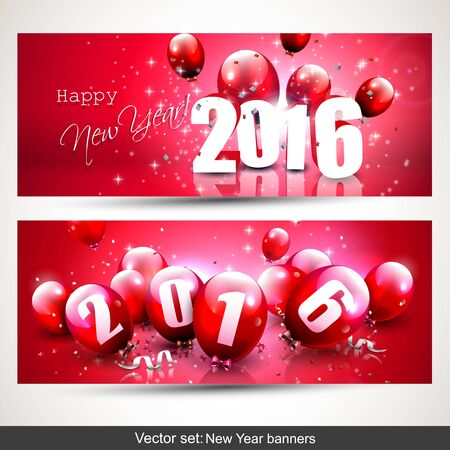 red balloons: Happy New Year 2016 - Horizontal banners with red balloons