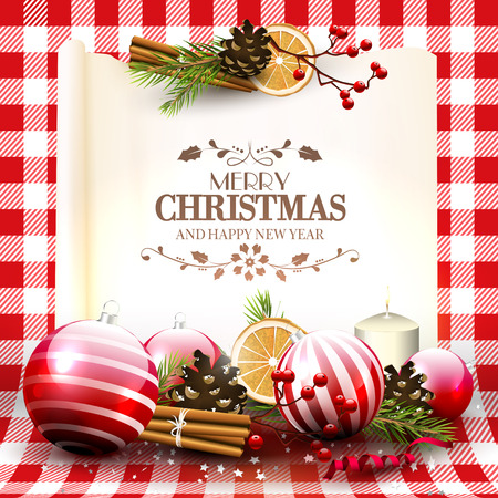 checkered: Traditional Christmas greeting card with decorations and old paper on red checkered background