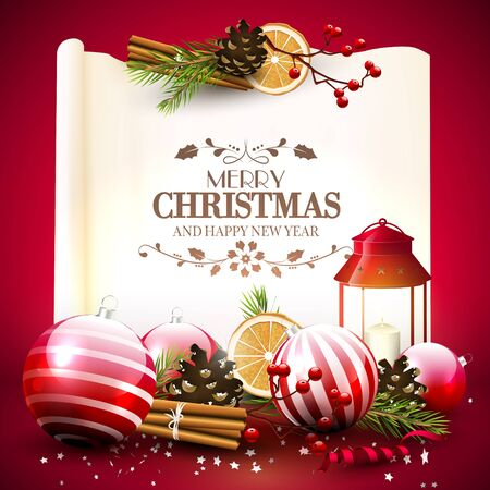 greeting card: Christmas greeting card with traditional decorations and lantern in front of a old paper with calligraphic lettering Illustration