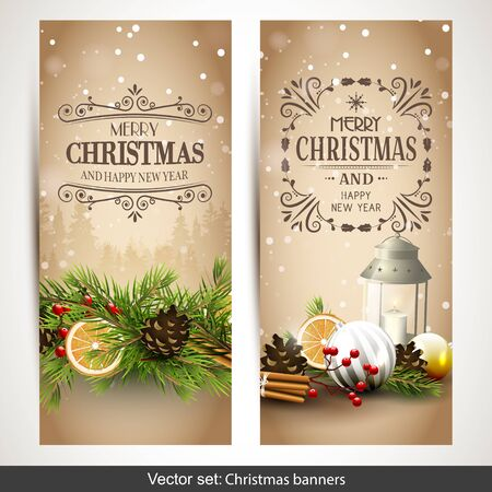 christmas banner: Vector set of two traditional Christmas banners Illustration