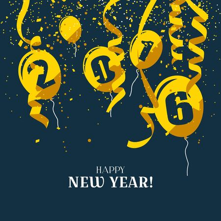 sylvester: Happy New Year 2016 - modern greeting cards in flat design style Illustration
