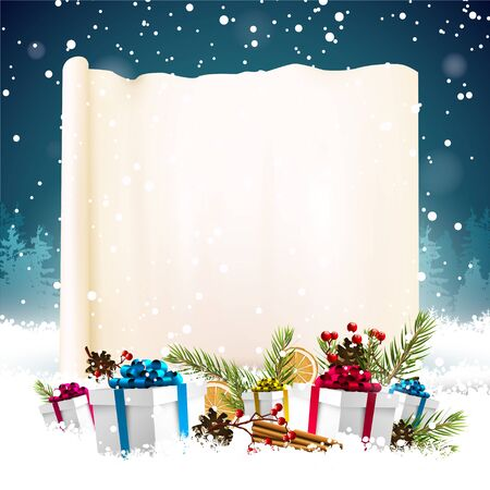 Christmas greeting card with empty paper and colorful gift boxes in the snow