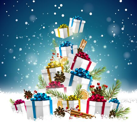 christmas gifts: Colorful Christmas gifts stacked into the shape of a Christmas tree