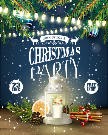 christmas party: Christmas party flyer with lantern and traditional decorations at night