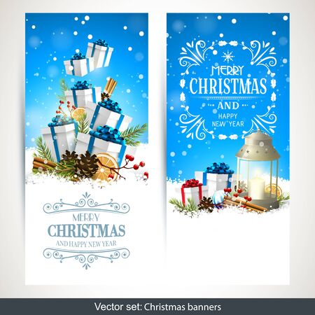 family outside: Vector set of two Christmas banners with gift boxes, traditional decorations and lantern in the snow