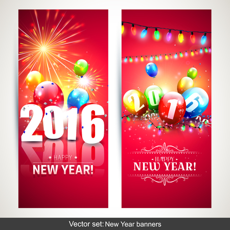 Happy New Year 2016 - Horizontal banners with colorful balloons on red background Vettoriali