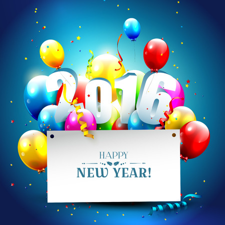 sylvester: Happy New Year 2016 - colorful greeting card with 3D numbers and balloons  on blue background
