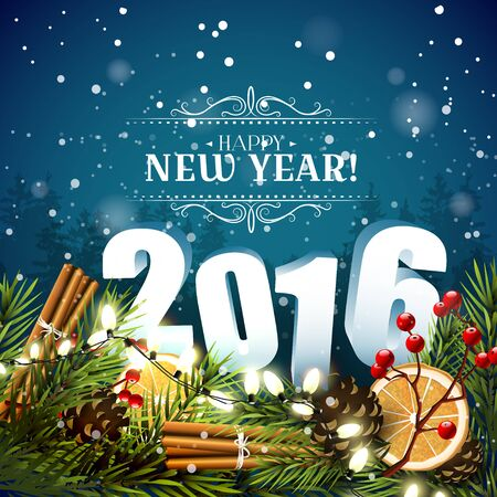 new year of trees: Happy New Year 2016 - traditional decorations, 3D numbers and calligraphic inscription on blue background Illustration